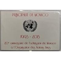 MONACO 2 EURO 2013 - 20TH ANNIVERSARY OF UN MEMBERSHIP - C/C
