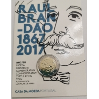 PORTUGAL 2 EURO 2017/2 - 150 YEARS OF THE BIRTH OF RAUL BRANDAO - C/C