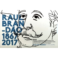 PORTUGAL 2 EURO 2017 - 150 YEARS OF THE BIRTH OF RAUL BRANDAO - PROOF
