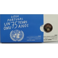PORTUGAL 2 EURO 2020 - 75 YEARS OF THE UNITED NATIONS - PROOF