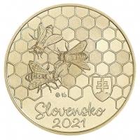 SLOVAKIA 5 EURO 2021 - Fauna and Flora in Slovakia - The Honeybee