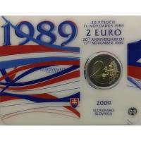SLOVAKIA 2 EURO 2009 - 20TH ANNIVERSARY OF THE START OF THE VELVET REVOLUTION - C/C