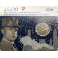 SLOVAKIA 2 EURO 2019 - 100TH ANNIVERSARY OF THE DEATH OF MILAN ROSTISLAV STEFANIK - C/C