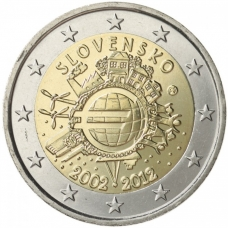 SLOVAKIA 2 EURO 2012 - 10 YEARS OF EURO