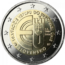 SLOVAKIA 2 EURO 2014 -10 YEARS OF SLOVAKIAN MEMBERSHIP IN EU