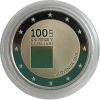 SLOVENIA 2 EURO 2019 - 100TH ANNIVERSARY OF THE FOUNDING UNIVERSITY OF LJUBLJANA - PROOF