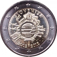 SLOVENIA 2 EURO 2012 - 10 YEARS OF EURO PROOF