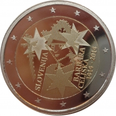 SLOVENIA 2 EURO 2014 - BARBARA OF CELJE PROOF