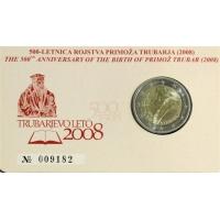 SLOVENIA 2 EURO 2008 - PRIMOŽ TRUBAR COIN CARD