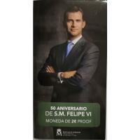 SPAIN 2 EURO 2018 - 50TH BIRTHDAY OF KING FELIPE VI - PROOF
