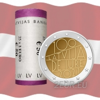 LATVIA 2 EURO 2021 - Latvia de iure 100 R