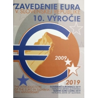 SLOVAKIA 2019 - 10TH ANNIVERSARY OF THE INTRODUCTION OF THE EURO IN SLOVAKIA - EURO COIN SET - PROOF