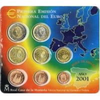 SPAIN 2001 - EURO COIN SET - BU