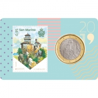 SAN MARINO 2019 - 1 EURO - COIN CARD + STAMP
