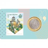 SAN MARINO 2019 - 1 EURO - COIN CARD + STAMP
