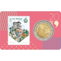 SAN MARINO 2019 - 2 EURO - COIN CARD + STAMP