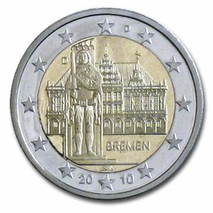 GERMANY 2 EURO 2010 - CITY HALL AND ROLAND - D - MUNICH