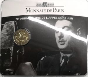 FRANCE 2 EURO 2010 - 70 YEARS OF APPEAL OF 18TH JUNE 1940 - COIN CARD