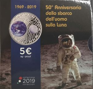 ITALY 2019 5 € - MOON LANDING -PROOF