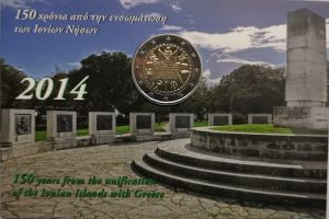 GREECE 2 EURO 2014 -150TH ANNIVERSARY OF THE UNION OF THE IONIAN ISLANDS WITH GREECE - C/C