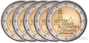 PORTUGAL 2 EURO 2020 - 730YEARS OF THE UNIVERSITY OF COIMBRA (5x3.5 euro)