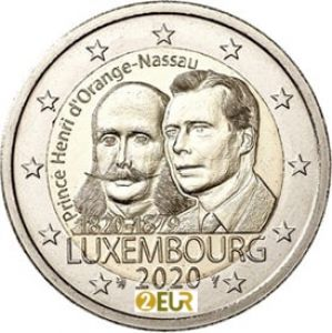LUXEMBOURG 2 EURO 2020 -200TH BIRTH ANNIVERSARY OF PRINCE HENRI ORANGE -NASSAU