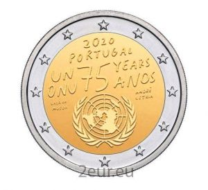 PORTUGAL 2 EURO 2020 - 75 YEARS OF THE UNITED NATIONS