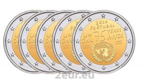 PORTUGAL 2 EURO 2020 - 75 YEARS OF THE UNITED NATIONS (5X2.7)