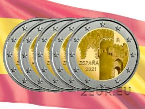 SPAIN 2 EURO 2021 - HISTORIC CITY OF TOLEDO (5pcs)
