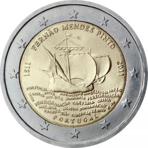 PORTUGAL 2 EURO 2011 - 500TH BIRTH ANNIVERSARY OF FERNAO MENDES PINTO