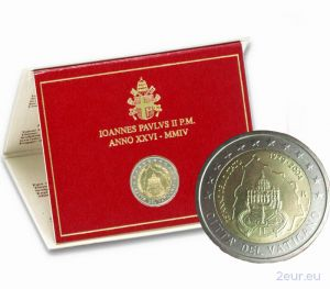 VATICAN 2 EURO 2004 - 75 YEARS OF THE FOUNDATION OF THE VATICAN CITY STATE