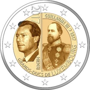 LUXEMBOURG 2 EURO 2017 - 200TH ANNIVERSARY OF THE GRAND DUKE GUILLAUME III""