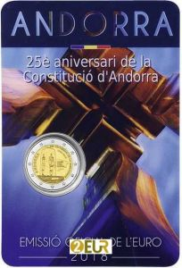 ANDORRA 2 EURO 2018 - 25TH ANNIVERSARY OF THE CONSTITUTION OF ANDORRA