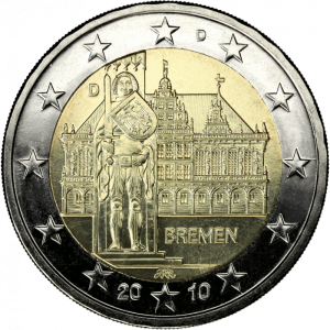 GERMANY 2 EURO 2010 - CITY HALL AND ROLAND