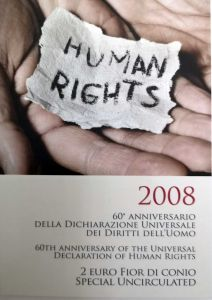 ITALY 2 EURO 2008 - HUMAN RIGHTS - COIN CARD